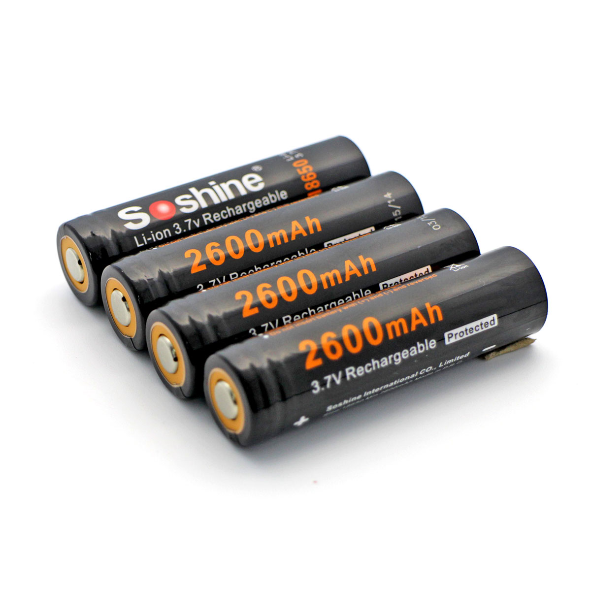 Soshine Li-ion 18650 Battery With Protected: 2600mAh