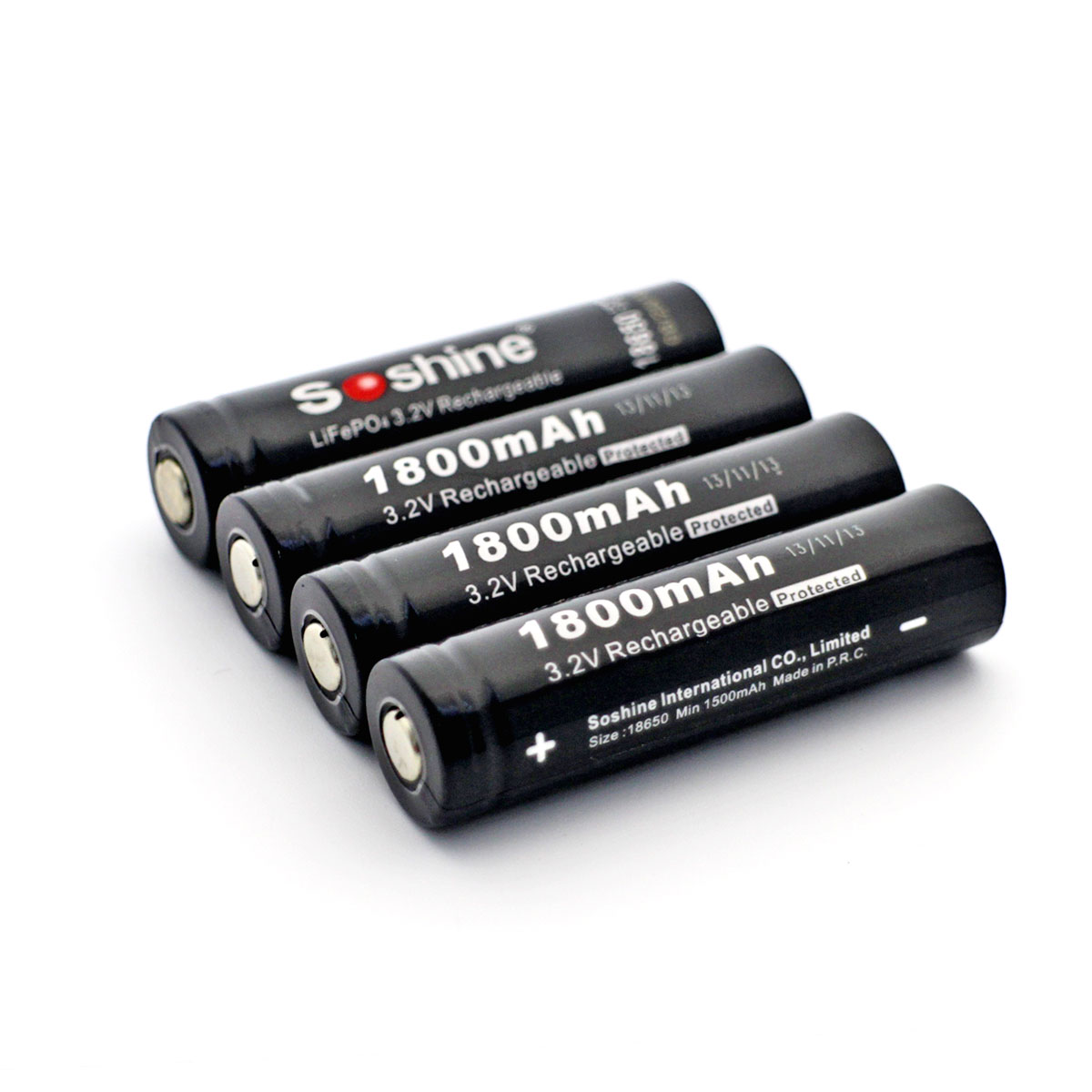 Soshine 18650 LiFePO4 3.2V Rechargeable Battery With PCB Protected Board :1800mAh