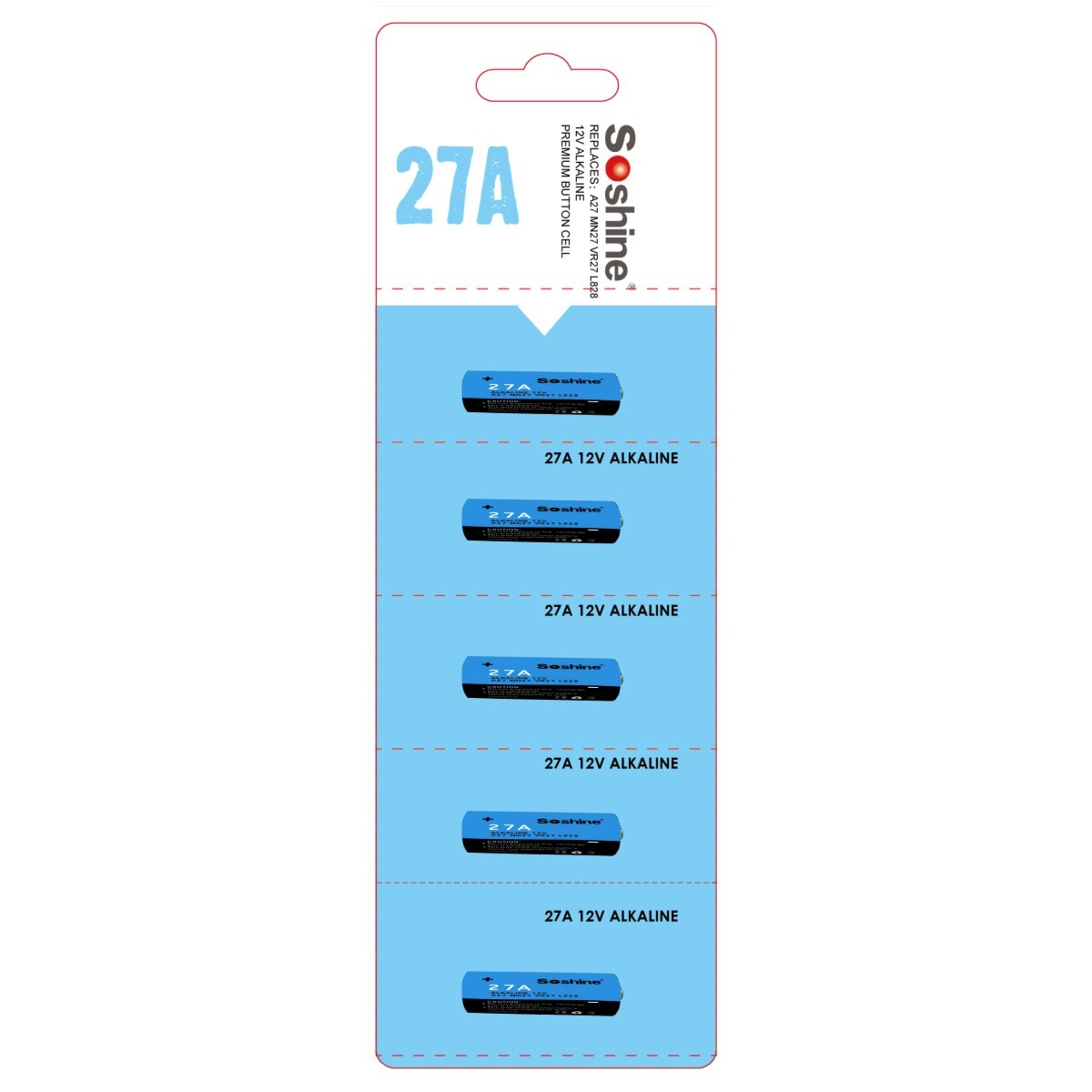 Soshine 27A  Alkaline Battery 12V 27A  A27 MN27 VR27 L828 (Pack of 5)
