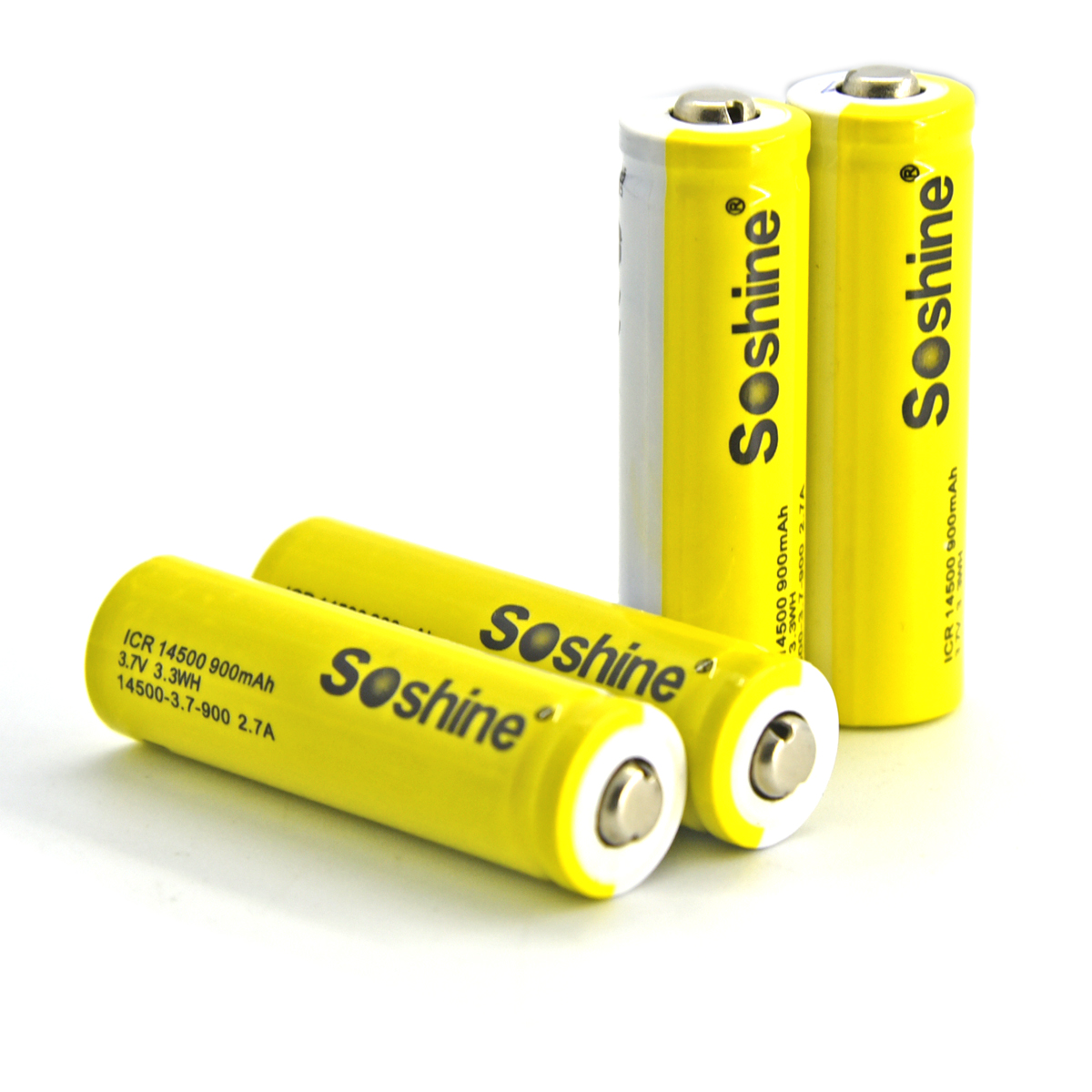 Soshine Battery 3.7v 900mAh  4× Li-ion 14500/AA