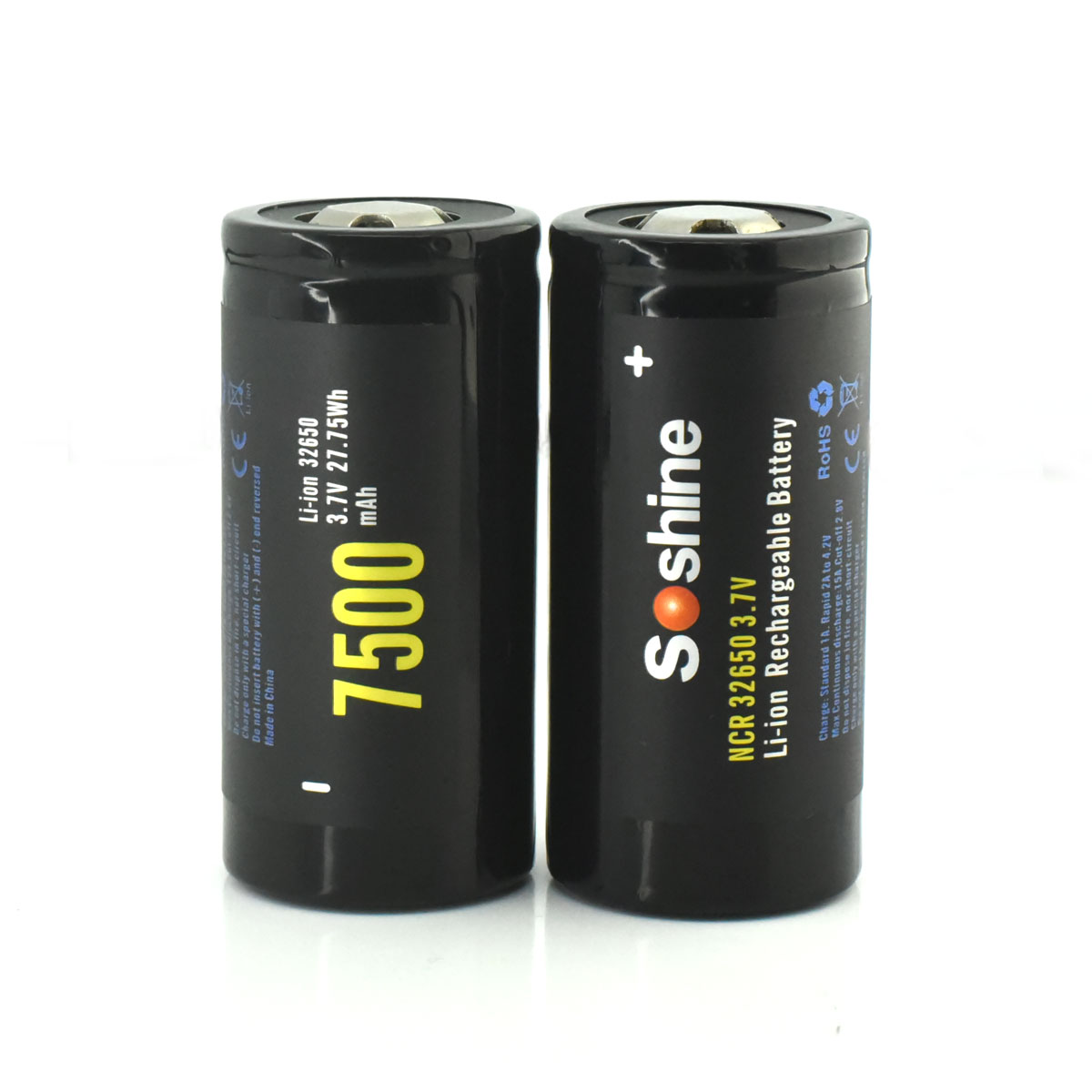 Soshine NCR 32650 7500mAh 15A 3.7v Rechargeable Flat Top Batteries-Black